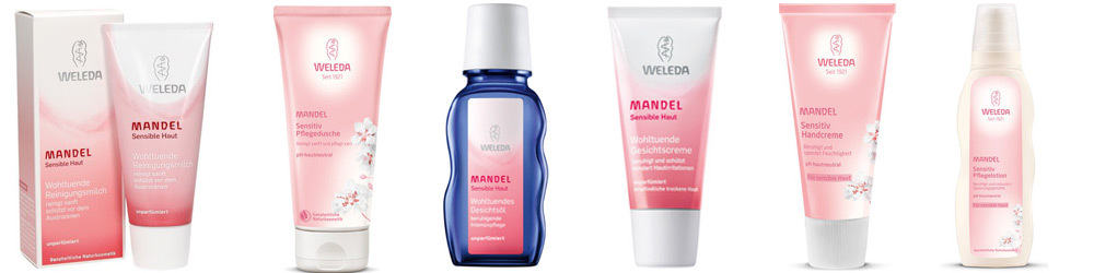 Weleda Mandel sensitiv Pflegeserie mit Bio-Mandelöl