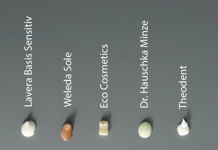 Naturkosmetik Zahnpasta Swatches