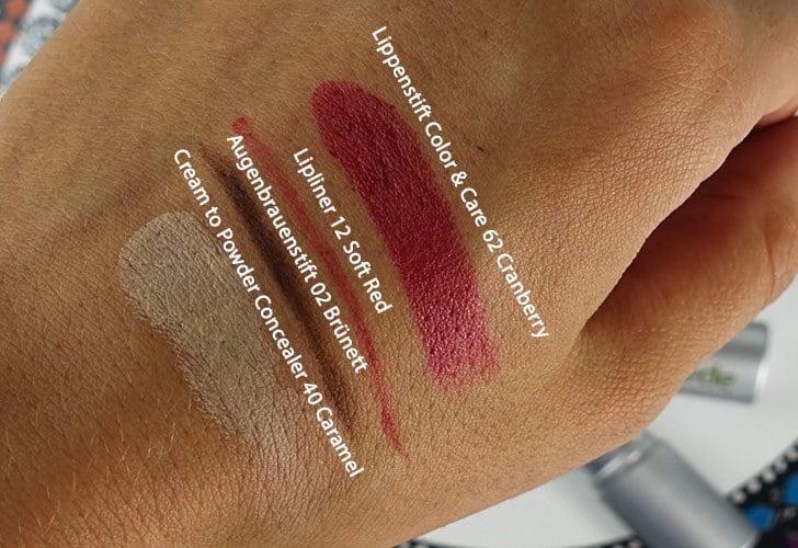 Alverde Swatches Lippenstift Cranberry, Lippenpencil, Concealer, Augenbrauenstift