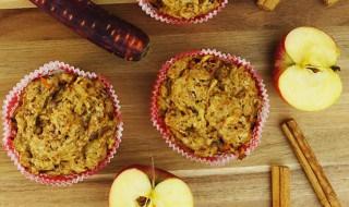 Saftige Apfel-Zimt-Muffins mit Möhre und Kokosblütenzucker