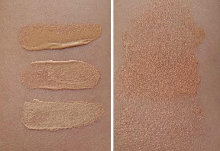 100% Pure Tinted Moisturizer Swatches Creme, Peach Bisque, White Peach