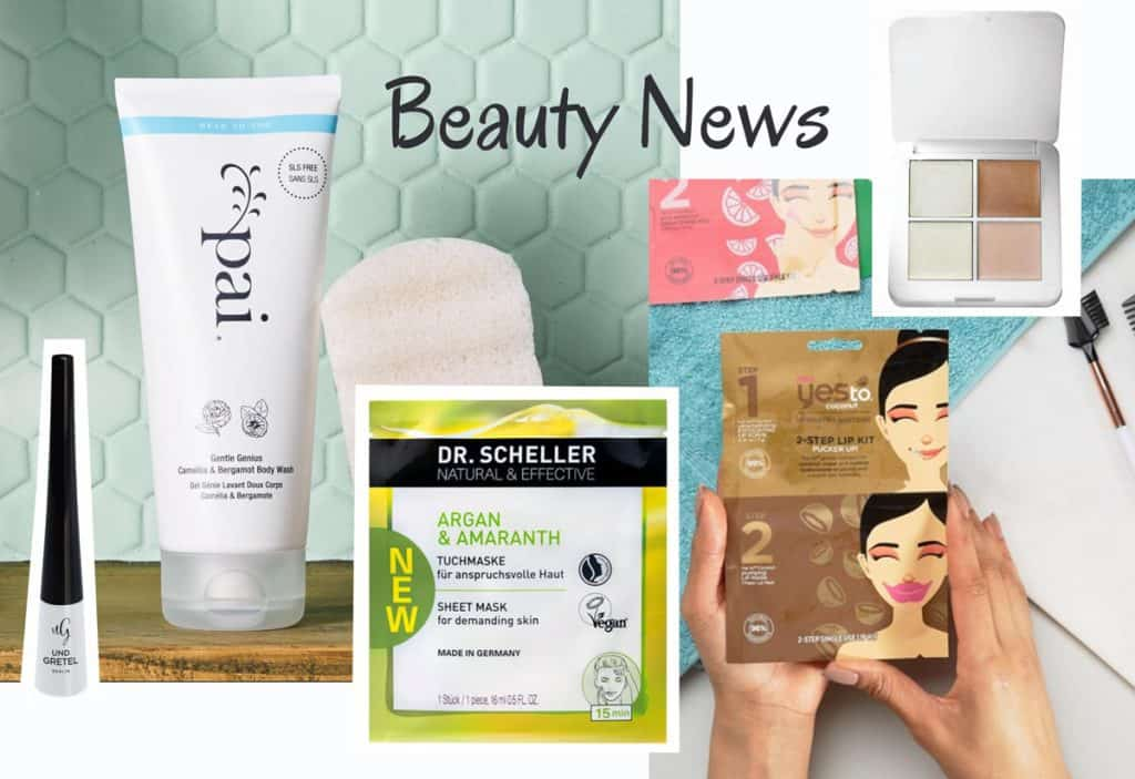 Pai Body Wash, RMS Beauty Highlighter Palette, Yes to Lippenmaske, Dr. Scheller Sheetmask