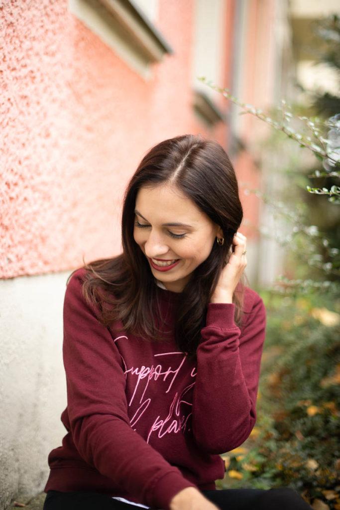bio baumwolle pullover burgund